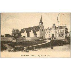 carte postale ancienne 36 LA CHATRE. Eglise Hospice 1918 (timbre absent)