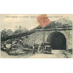 carte postale ancienne 05 LE LAUTARET. Diligence à l'entrée du Tunnel 1916