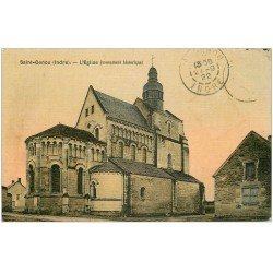 carte postale ancienne 36 SAINT-GENOU. Eglise. Carte toilée 1922