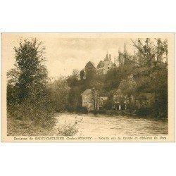 carte postale ancienne 36 SCOURY. Le Moulin et Château de Cors 1945