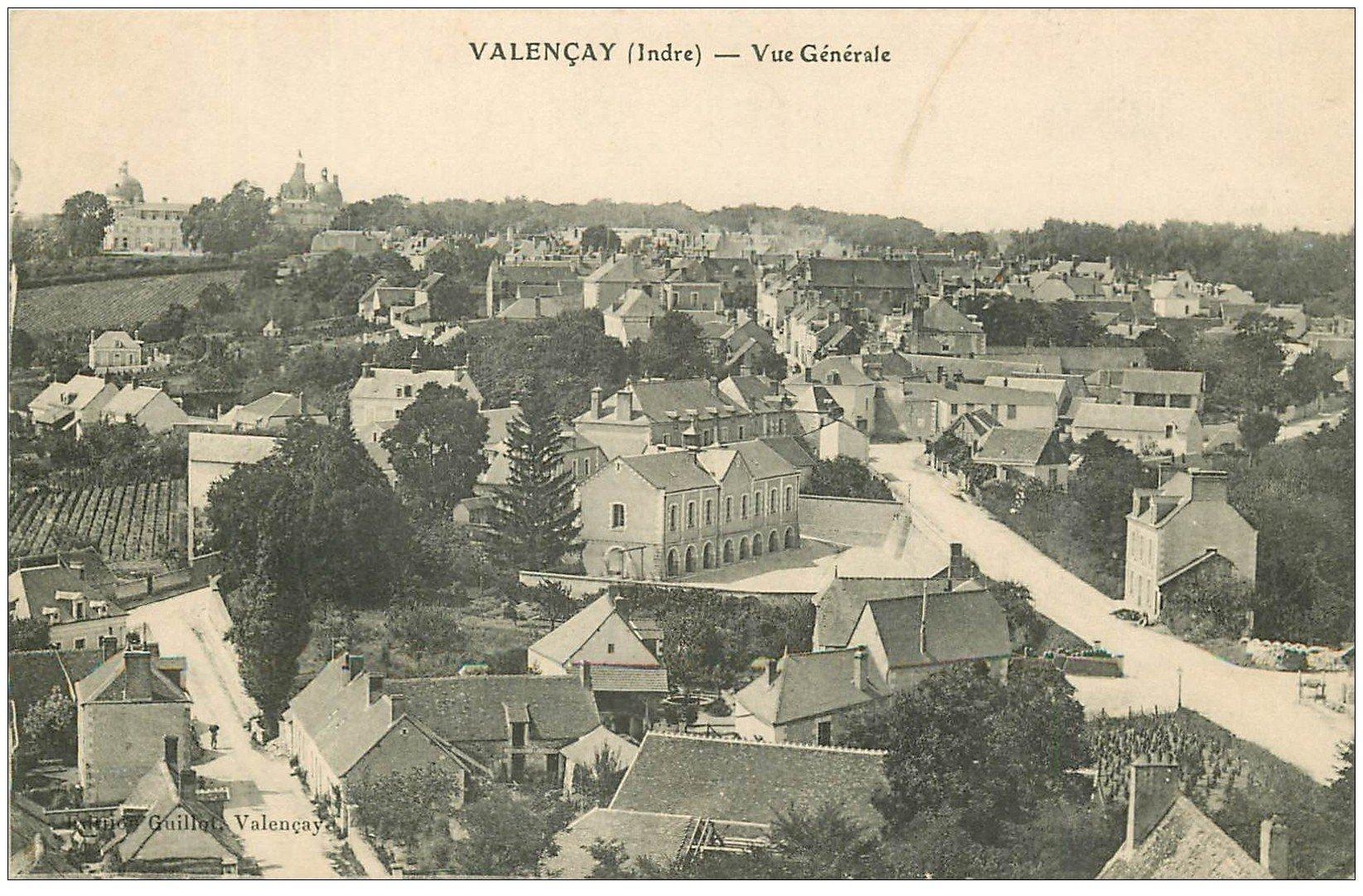 carte postale ancienne 36 VALENCAY. Vue générale