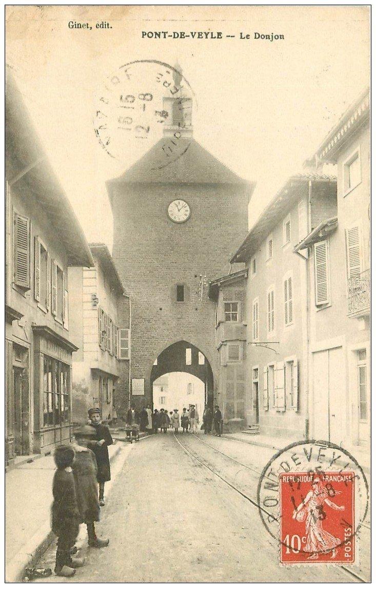 carte postale ancienne 01 PONT-DE-VEYLE. Le Donjon 1913