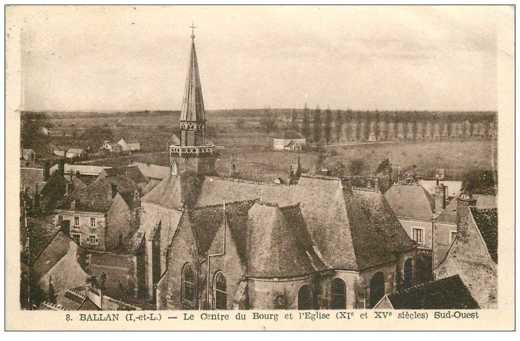 carte postale ancienne 37 BALLAN. Bourg et Eglise 1943