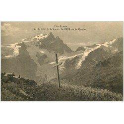 carte postale ancienne 05 MASSIF DE LA MEIJE. La Croix de Bois vue du Chazelet