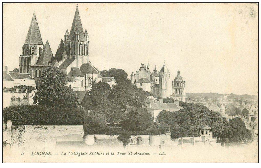 carte postale ancienne 37 LOCHES. Collégiale Saint-Ours