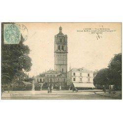 carte postale ancienne 37 LOCHES. Tour Saint-Antoine 1905. Mécanicien et Café de la Ville