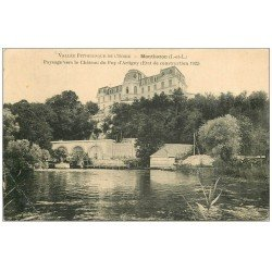 carte postale ancienne 37 MONTBAZON. Château Puy Artigny 1923 Roue à Eau