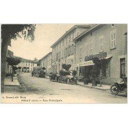 carte postale ancienne 01 PRIAY. Voitures et Camion anciens Rue Principale. Hôtel Bourgeois