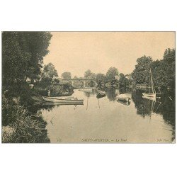 carte postale ancienne 37 SAINT-AVERTIN. Le Pont animation