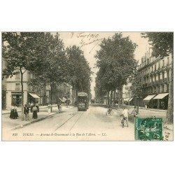 carte postale ancienne 37 TOURS. Avenue Grammont Rue Alma 1910