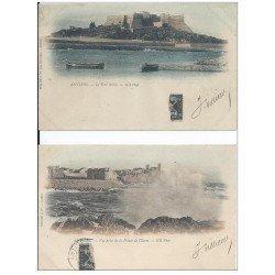 06 ANTIBES. 2 Cpa Pionnières vers 1900. Pointe de l'Ilette et Fort Reille tampon Trésorier des Chasseurs Alpins (défaut)