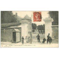 carte postale ancienne 37 TOURS. Caserne Meusnier rue Saint-Maurice 1907
