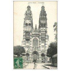 carte postale ancienne 37 TOURS. Cathédrale 1908