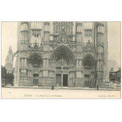 carte postale ancienne 37 TOURS. Cathédrale Portail