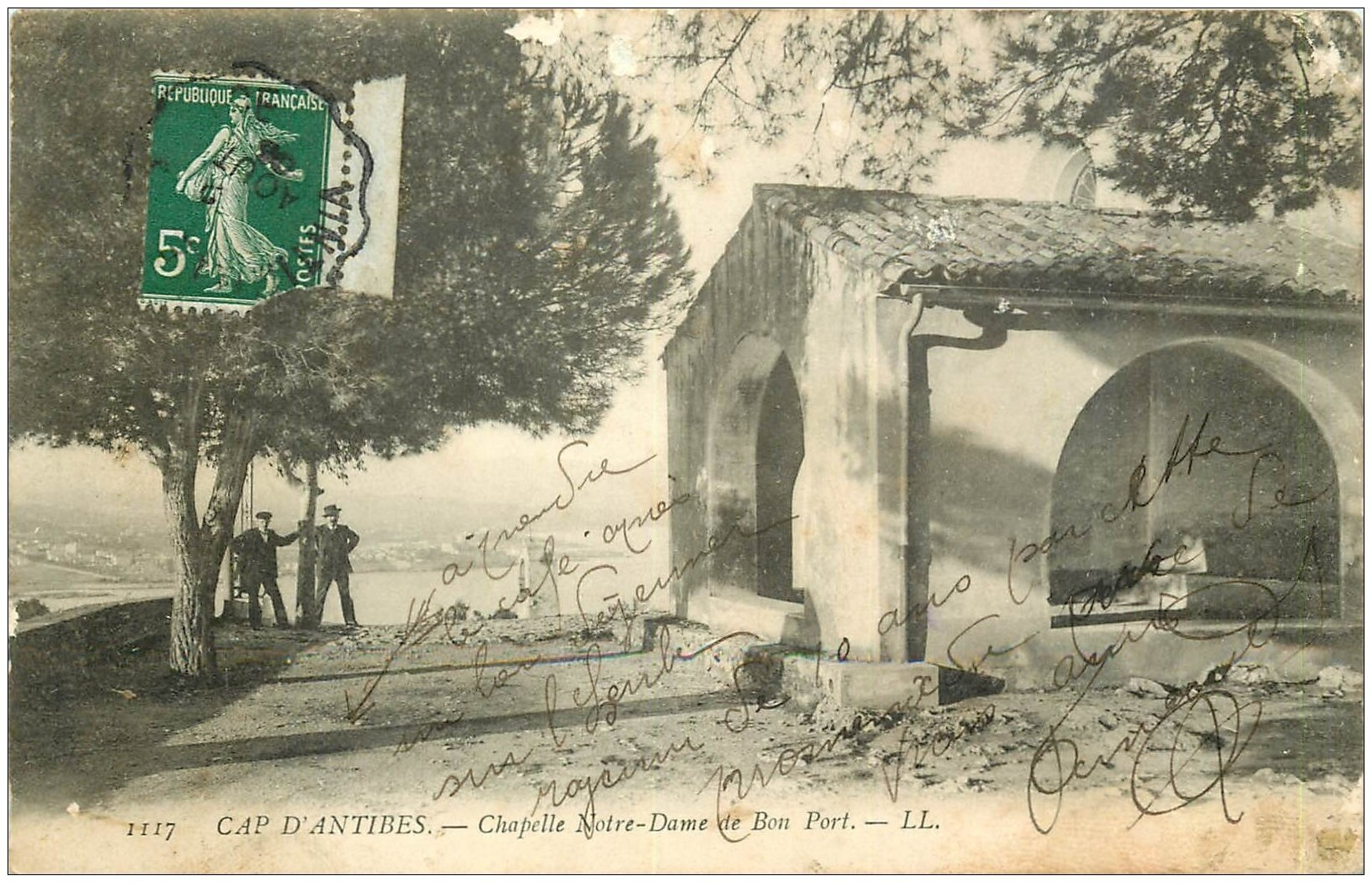 carte postale ancienne 06 ANTIBES. Chapelle Notre-Dame de Bon Port 1908. Timbre Taxe