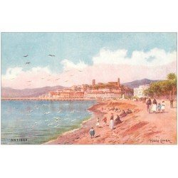 carte postale ancienne 06 ANTIBES. Illustrateur Comba. La Plage
