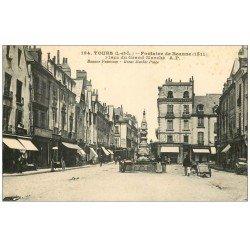 carte postale ancienne 37 TOURS. fontaine Place du Grand Marché 194