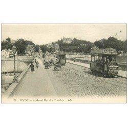 carte postale ancienne 37 TOURS. Grand Pont et Tranchée