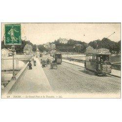 carte postale ancienne 37 TOURS. Grand Pont et Tranchée 1914