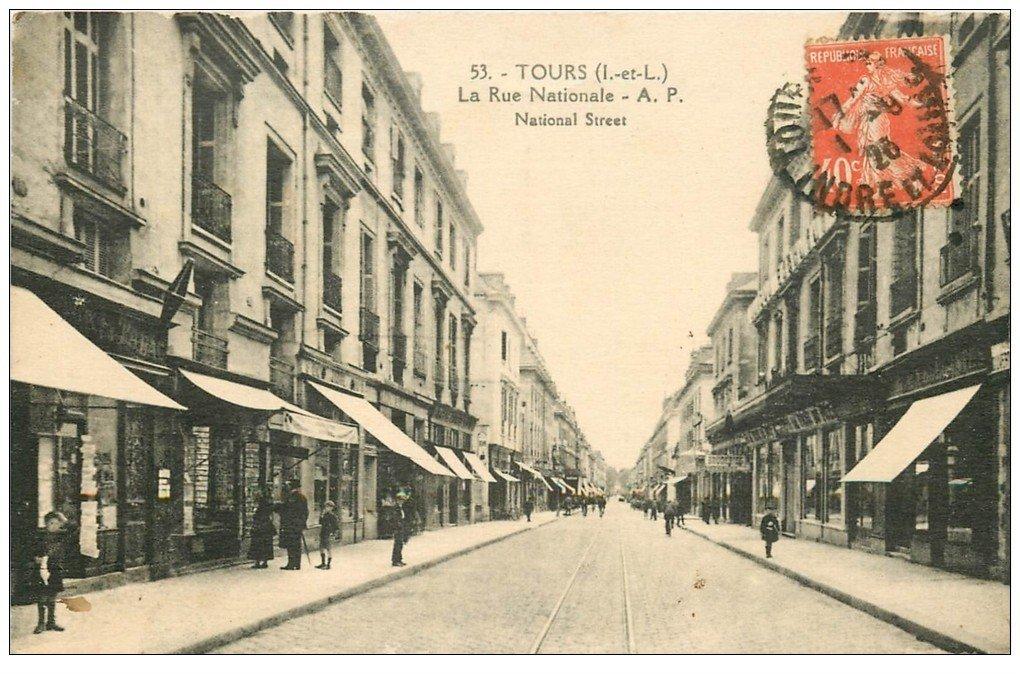 37 Tours Rue Nationale 1923 Magasin De Cartes Postales