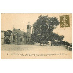 carte postale ancienne 37 VOUVRAY. Clocher Eglise 1926