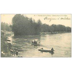 carte postale ancienne 37 VOUVRAY. Embarcations sur la Cisse vers 1900