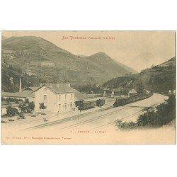 carte postale ancienne 65 ARREAU. La Gare avec Train vers 1900