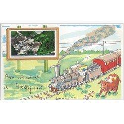 carte postale ancienne 65 ARTIGUES. Carte à système avec véritable petite Photo et Dessin d'un Train