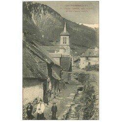 carte postale ancienne 65 ASPIN. Eglise avec Curé et Enfants de Choeur
