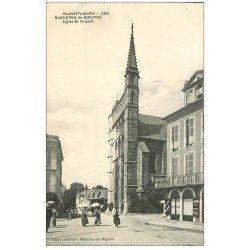carte postale ancienne 65 BAGNERES-DE-BIGORRE. Eglise Saint-Vincent et Coiffeur