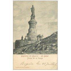carte postale ancienne 65 BAGNERES-DE-BIGORRE. Le Bédat Statue de la Vierge. Timbre Taxe 1904