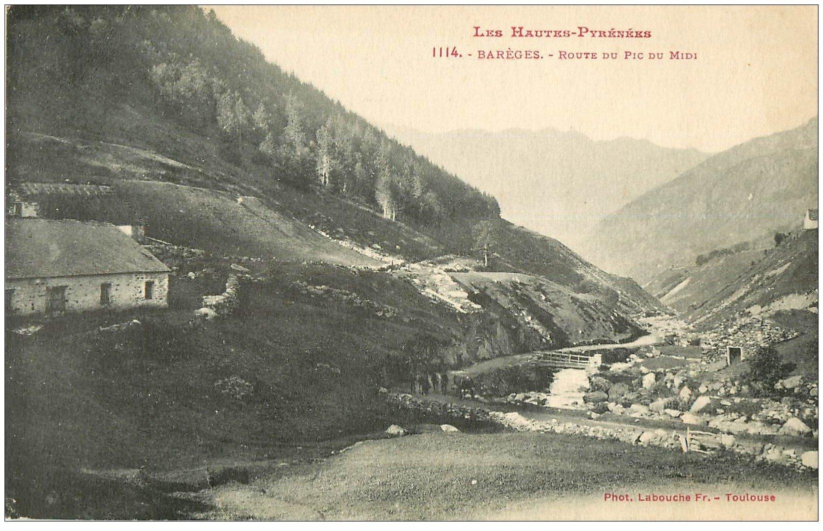carte postale ancienne 65 BAREGE. Route du Pic du Midi