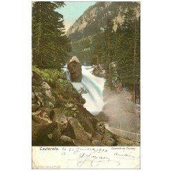carte postale ancienne 65 CAUTERETS. Cascade du Cerisey 1904. Dans l'état...