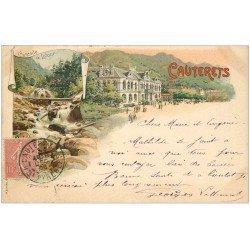 carte postale ancienne 65 CAUTERETS. Etablissement et Cascade de Lutour. Carte pionnière 1905