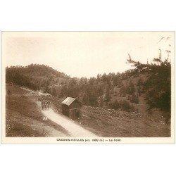 carte postale ancienne 06 CABANES -VIEILLES. La Fôret la marche des Militaires
