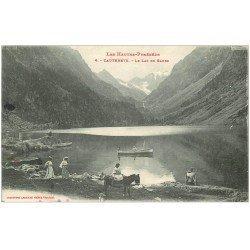 carte postale ancienne 65 CAUTERETS. Le Lac de Gaube 1917 animé