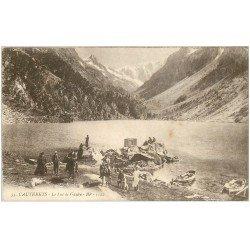 carte postale ancienne 65 CAUTERETS. Le Lac de Gaube animé