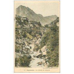 carte postale ancienne 65 CAUTERETS. Les abords du Limaçon. Timbres Taxes 1907
