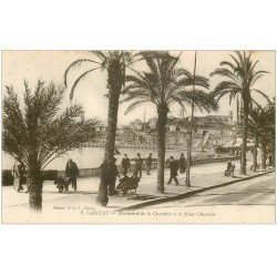 carte postale ancienne 06 CANNES. Boulevard de la Croisette et Mont Chevalier