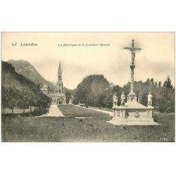 carte postale ancienne 65 LOURDES. Basilique et Calvaire Breton 1906