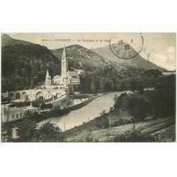 carte postale ancienne 65 LOURDES. Basilique et Gave 1932