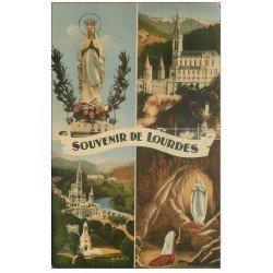 carte postale ancienne 65 LOURDES. Basilique et Gave 1954