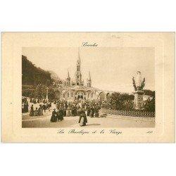 carte postale ancienne 65 LOURDES. Basilique et Vierge