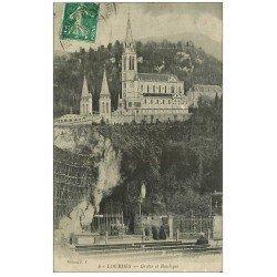 carte postale ancienne 65 LOURDES. Grotte et Basilique 1917