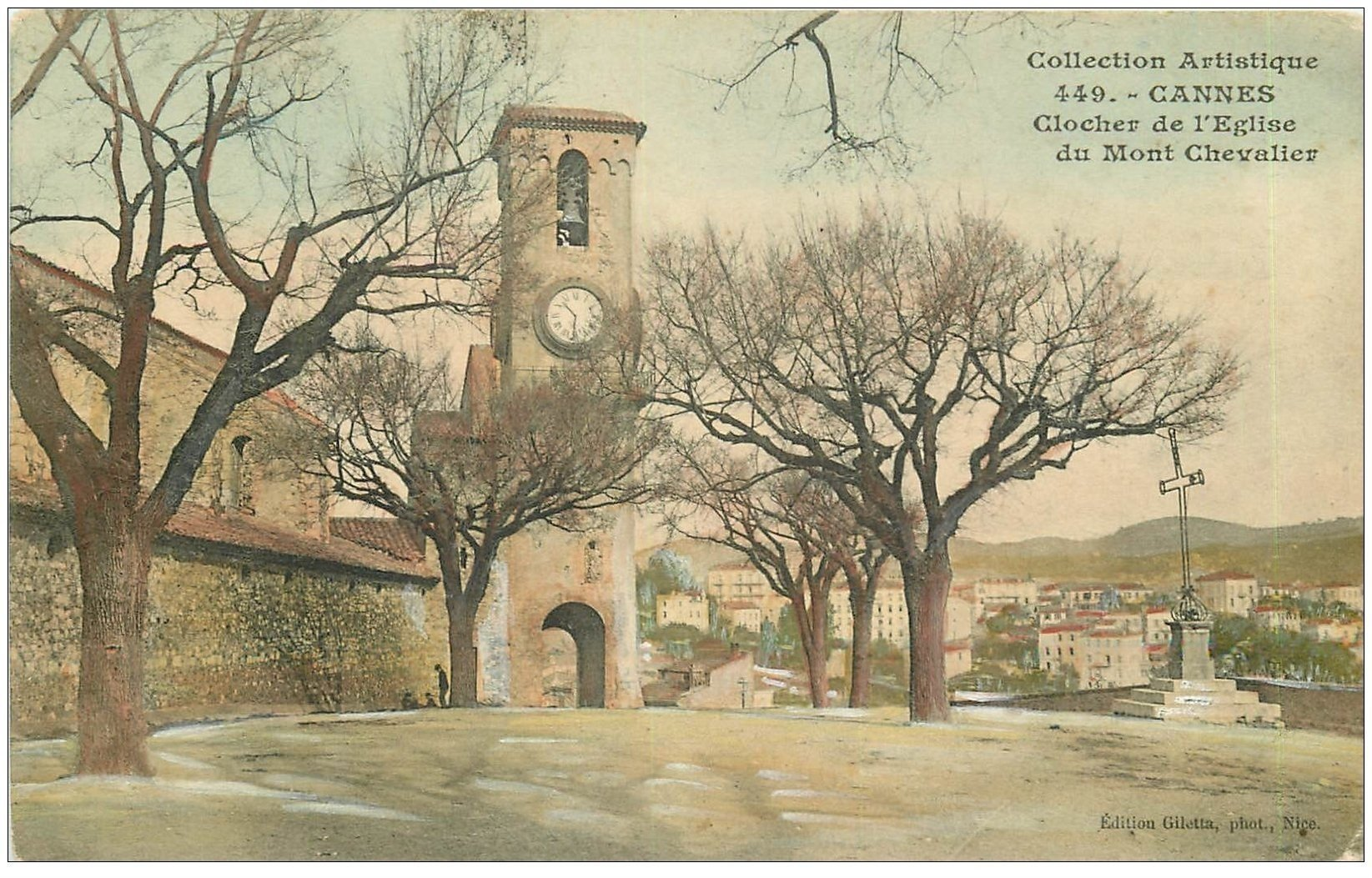 carte postale ancienne 06 CANNES. Clocher Eglise du Mont Chevalier 1906