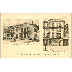 carte postale ancienne 65 LOURDES. Hôtel de Biarritz et Maison Latapie Avenue Général Maransin et Place Jeanne d'Arc