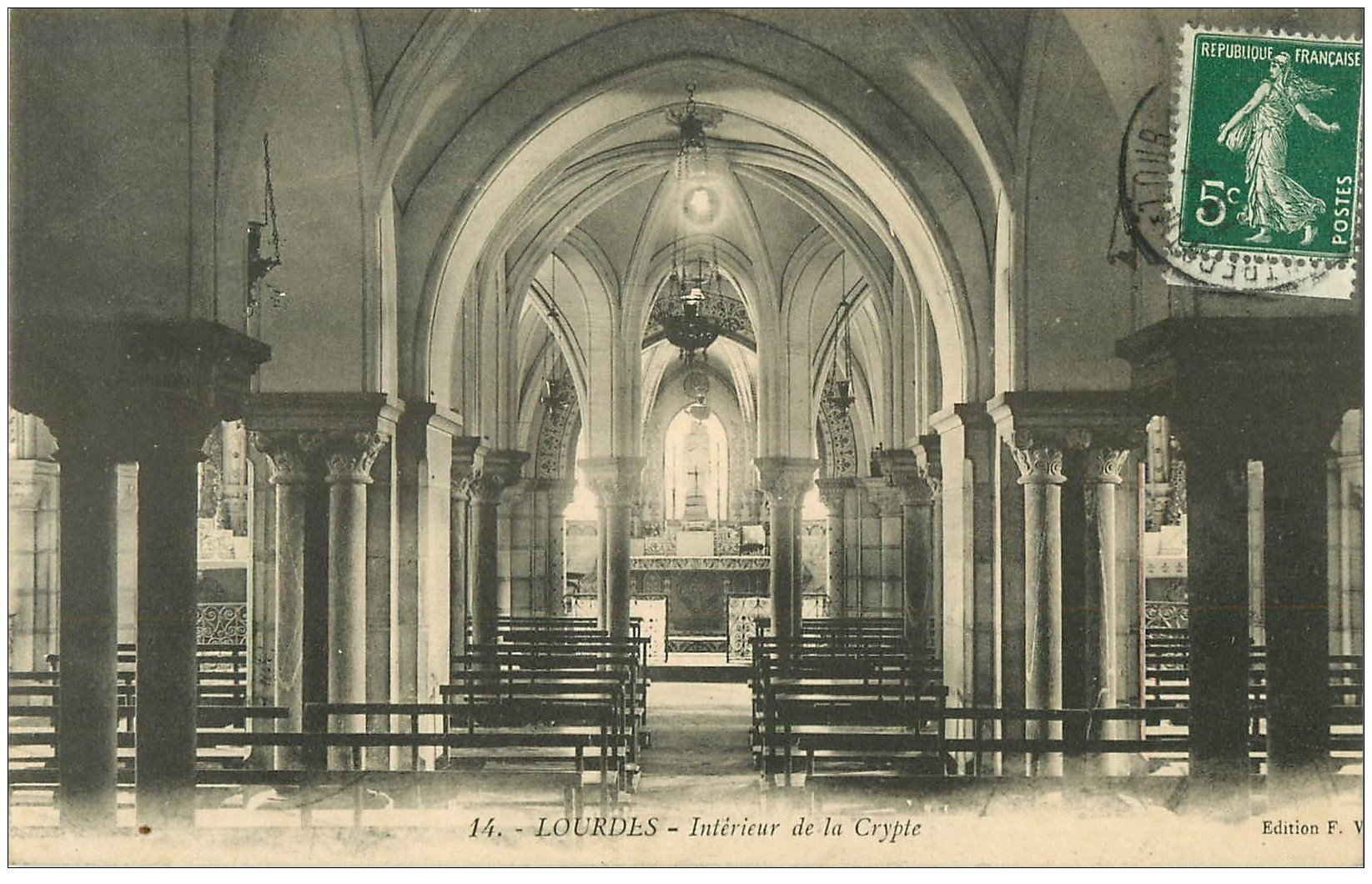 65 lourdes int rieur de la crypte 1910 for Interieur 65