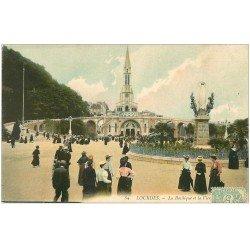 carte postale ancienne 65 LOURDES. La Basilique et Vierge 1906