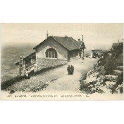 carte postale ancienne 65 LOURDES. La Gare du Sommet Café Restaurant