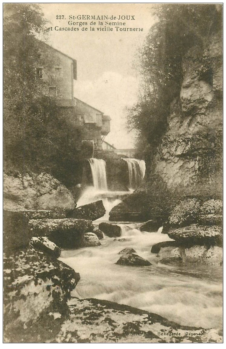 carte postale ancienne 01 SAINT-GERMAIN-DE-JOUX. Cascades vieille Tournerie et Gorges Semine 1920